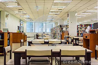 Library interior of Chulalongkorn University, the oldest univers Editorial Photography