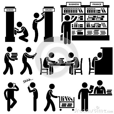 Free Library Librarian Bookstore Student Pictogram Stock Images - 29609944