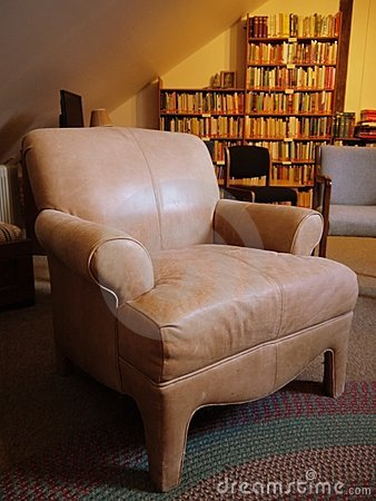 Library: old leather armchair