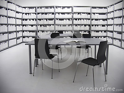 Library in White