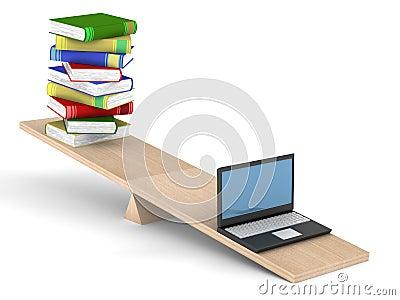 Libri E Computer Portatile Sulle Scale. Fotografia Stock ...