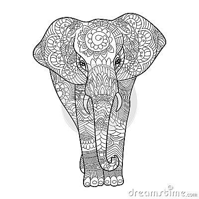Libro da colorare dell 39 elefante per il vettore degli - Adulto da colorare elefante pagine da colorare ...