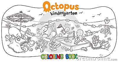 Libro da colorare di asilo del polipo illustrazione for Fondo marino da colorare