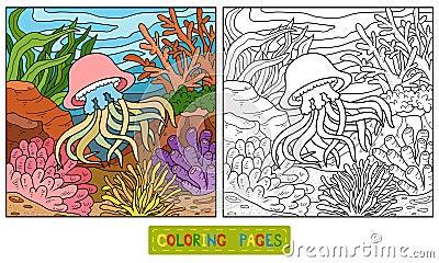 Libro da colorare meduse e fondo illustrazione for Fondo marino da colorare
