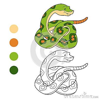 Libro da colorare serpente illustrazione vettoriale - Libro da colorare elefante libro ...