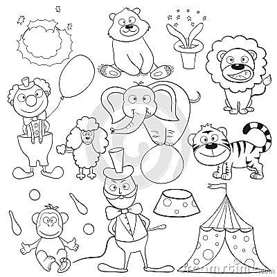 Libro di coloritura con gli elementi del circo