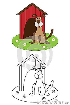 Libro per i bambini - cane della pagina di coloritura