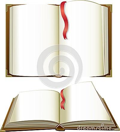 Libros abiertos con las paginaciones en blanco