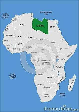 Libya position on Africa map - vector