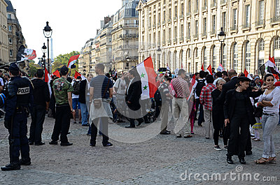 Libyan demonstration in Paris Editorial Image
