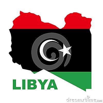 Libyan Republic flag on map