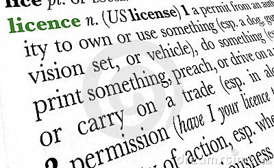 Licence word dictionary term