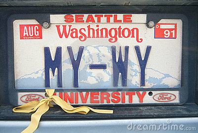 License Plate  in Washington Editorial Image