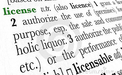 License word dictionary term