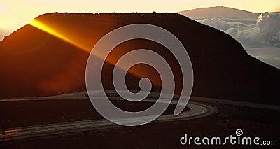 Lichtstrahl der steigenden Sonne.
