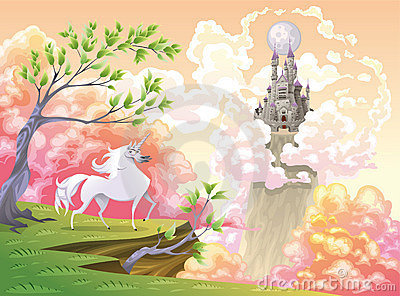 Licorne et horizontal mythologique