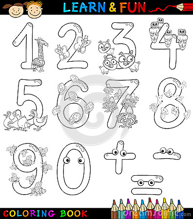 Liczby z kreskówki zwierzętami dla kolorystyki