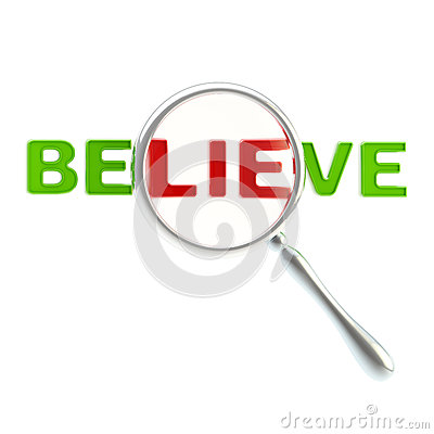 Lie as a part of the word believe