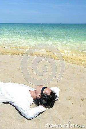 Lie down on tropical beach