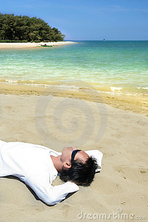 Lie down on tropical beach