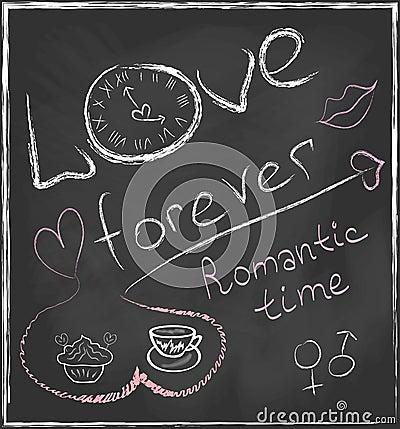 liebe f r immer und romantische zeitkonzepthand gezeichnet. Black Bedroom Furniture Sets. Home Design Ideas