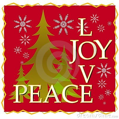 Liebes-Freuden-Friedensweihnachtskarte mit Baum und Schnee 2