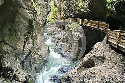 Liechtenstein Gorge - landmark attraction in Austria. Running water and rocks Stock Photo
