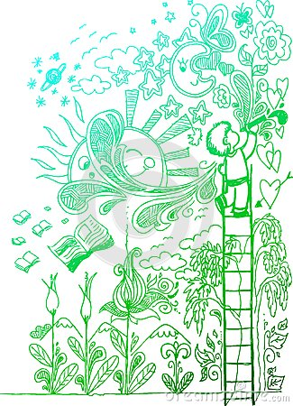 Liefde voor tekening, schetsmatige krabbels