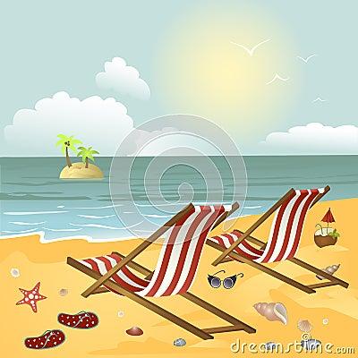liege zwei auf dem strand vektor abbildung bild 49746910. Black Bedroom Furniture Sets. Home Design Ideas