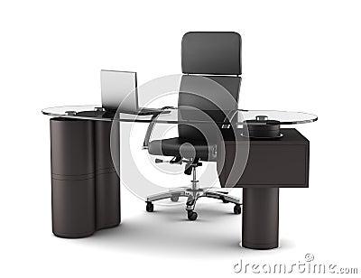 Lieu de travail moderne de bureau d 39 isolement sur le blanc photo stock image 20450490 for Photos gratuites travail bureau