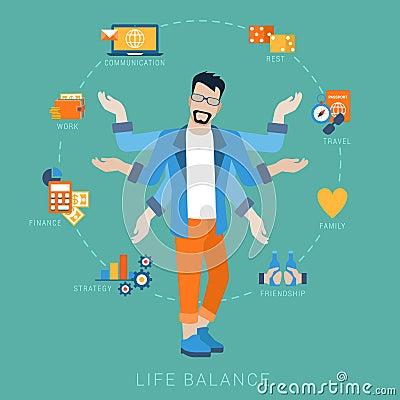 Free Life Balance Man Lifestyle Vector Flat Infografic: Icons Stock Photo - 59050600
