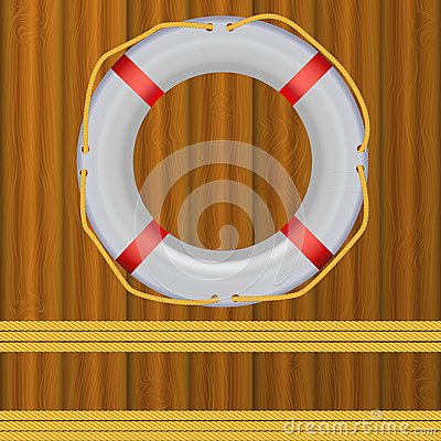 Life Buoy On boards Background, ropes