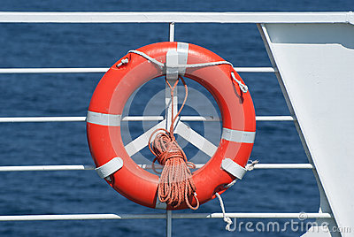 Life buoy on ferry crossing the mediterranean sea