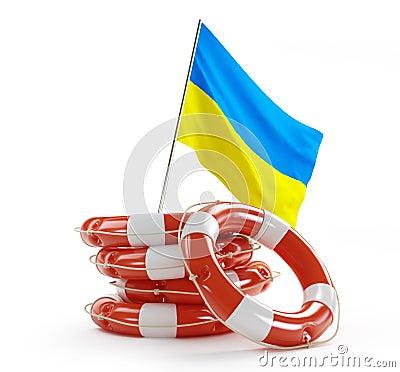 Life Buoy flags of Ukraine