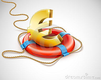 Life buoy rescue ring helps euro currency