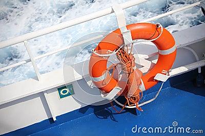 Life buoy on ship