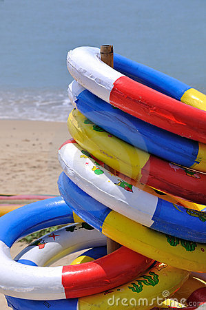 Life buoy stack at sea beach
