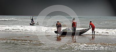 Daily life of Fishermen Editorial Image