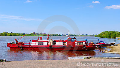 Life guard-boat on river