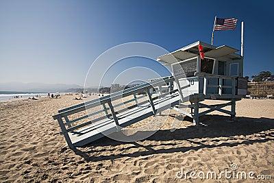 Life guard house on the Santa Monica beach