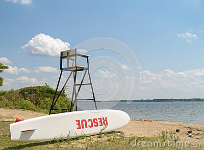 Life guard Stand with Rescue Surf board