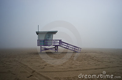 Life Guard Tower on Foggyy Afternoon