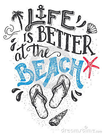 Free Life Is Better At The Beach Hand-lettering Card Stock Images - 70781824
