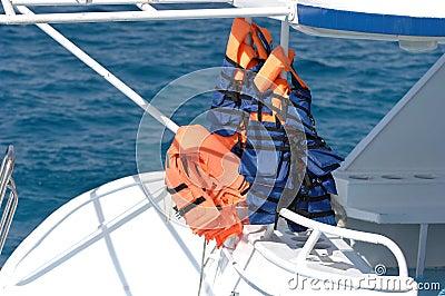 Life jackets on boat