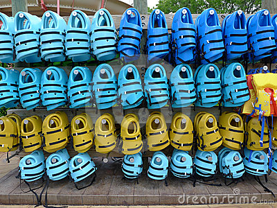 Life Jackets at Water Park Editorial Photography