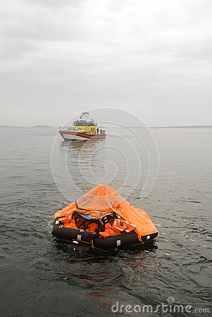 Liferaft and rescue vessel Editorial Image