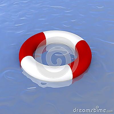 Life ring in ocean