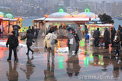 Life in Snow Istanbul Editorial Image