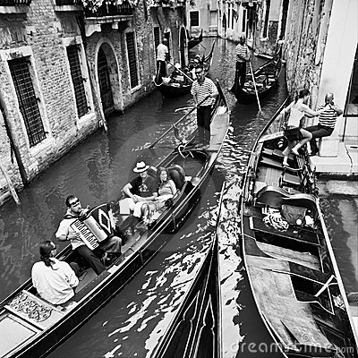 Life in Venice (traveling by gondolas) Editorial Stock Image