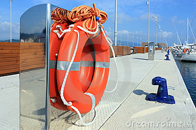 Lifebuoy in harbor